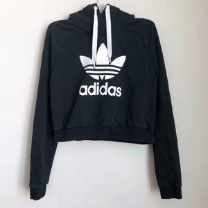 Adidas Trefoil Cropped Hoodie Black